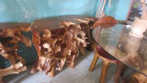 Table d'appoint Console Bois Teck Massif - Indonésie // Solid Teak Wood Side Table with glass top, from Indonesia **NEW