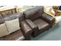 Brown leather 2 seat sofa + armchair