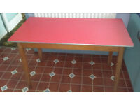 wood kitchen table with red formica top