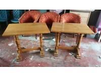 2 pub tables small solid oak