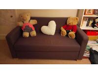 Ikea Askeby 2 seat sofa-bed (dark aubergine), animal/smoke free home in good condition