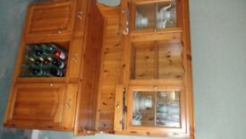 Lovely pine dresser with storage and display cupboards.