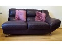Deep purple leather suite, 2 sofas& chaise lounge