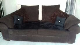 Brown and cream scatter back 3 seater sofa 1m deep X 2m wide