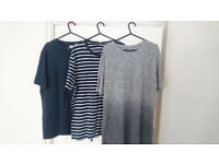 3x Reiss T-Shirt - Mens UK Size Large - Navy & Striped & Grey