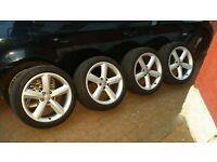 "Audi 18"" alloy wheels 5x112 genuine Ronal + Pirelli Tyres 6mm+"