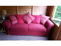 Three seater sofa and cushions