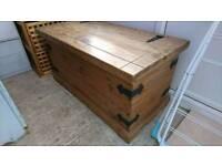 Solid wooden ottoman storage box