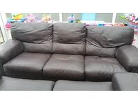 3 + 2 black leather sofa (3 seater has 2 recliners,fully operational and the 2 seater is a standard)