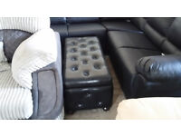 GRADED Black Leather Ottoman Storage footstool Delivery available