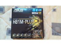 Asus H81M-PLUS Motherboard, LGA 1150 4th gen Haswell, very good condition