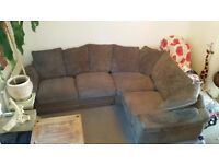 Nice large corner sofa suede type leather material and cord £120