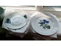 Cups and saucers set with matching sandwich plates