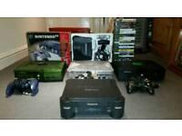5 Games Consoles, Nintendo 64, Panasonic 3DO REAL FZ1, Xbox Crystal, Xbox Green Halo edition, Games