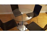 dining table (glass) and 4 chairs