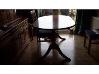 Dining Table, extending teak veneer. Reasonable condition.