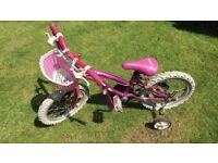 Children's 12 inch wheel pink bike with stabilisers