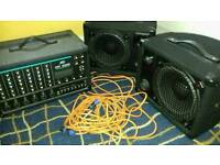 Peavey XR600E Powered Mixer And Pair Peavey Speakers With Leads And Covers