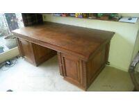Large Antique Dutch Bespoke Captain's Double Pedestal Desk
