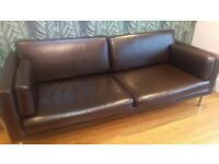 Brown Faux leather IKEA 2.5 sofa 'Sater'