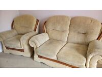 Pre loved fabric sofa suite, nest of tables and 4 dining chairs
