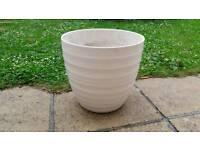 Large cream house plant pot