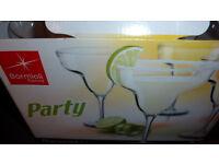 BORMIOLI Set of 4 MARGUERITA Cocktail Glasses NEW IN BOX, Gorgeous Italian Glass, Fun, Modern FAB!!