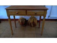 solid pine dressing table two drawers