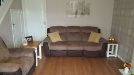 Manual Recliner Sofa and Chair (3 years old ex DFS)