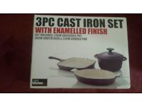 3PC Cast Iron Set with Enamelled Finish NEW