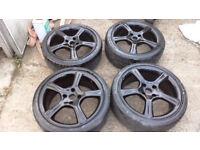 ford 17 inch alloy wheels lightly refurbed and painted black
