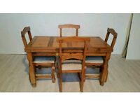 Unique Rustic Pine Wormwood Dining Table and 4 Chairs