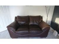 Brown Leather 2 & 3 seater sofas need away asap £50.