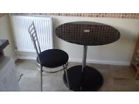 Black gloss tables & 4 chairs with chrome legs