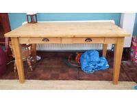 Large solid pine 6 seater dining table