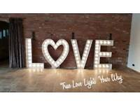 5ft Hand Crafted Aluminium Light Up LOVE Letters With Fairground Style LED Lights For Hire