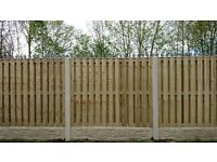 10 Section Double Sided Panels, Concrete Posts & Gravel Boards 6ft High DIY Pack