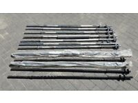 SOLID 5FT CAST IRON WEIGHTS BARBELLS WITH SPINLOCKS - 1 inch