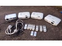 4 Ex SCHOOL HOME CINEMA PROJECTORS 3 EPSOM EB-S8 WORKING + REMOTES 1 NEC POWERS UP NO REMOTE + LEADS