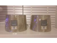 Pair of brand new grey/pewter lamp shades
