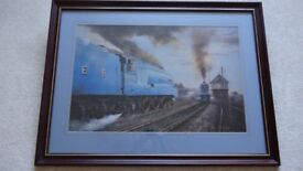 """Framed and signed print of steam engines """"Mallard"""" and """"Sir Nigel Gresley"""" ."""
