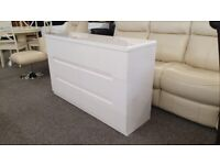 Julian Bowen Manhattan White High Gloss 6 Drawer Wide Chest Can Deliver
