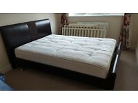 Leather double bed (incl. mattress) for sale