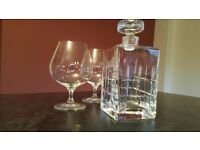Decanter & 2 Large Brandy Glasses