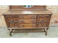 Antique Oak Sideboard Mirror Back Barley Twist Style Legs