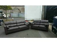 3+2 seater sofa in brown leather immaculate condition!