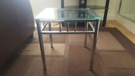Table, Silver Metal with Glass Top