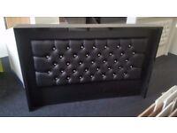 Reception Desk in Black Matt with Padded Front/Ref: 0421