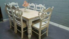 5FT Farmhouse Table and Chair Set - Bespoke-Grey-White-Cream
