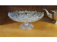 Glass Cake Stand with Small Circular Ornamentation in Good Condition
